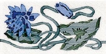 Modernista Cenefa Nenufar PB Azul C-C B