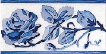 Modernista Cenefa Rosas PB Azul C-C B